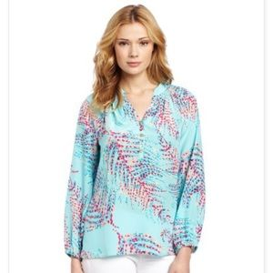 Lilly Pulitzer Elsa top lush shorely xs blue sea